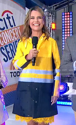 Savannah's yellow and blue raincoat on Today