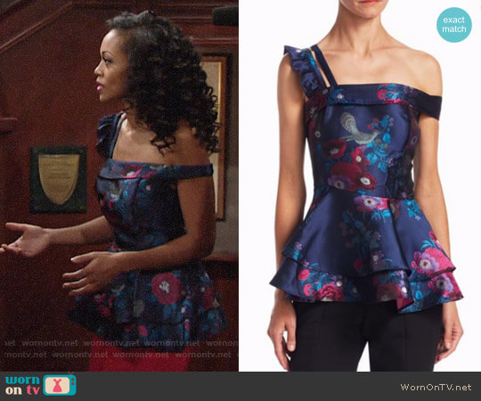 Scripted Floral Jacquard Peplum Top worn by Mishael Morgan on The Young & the Restless