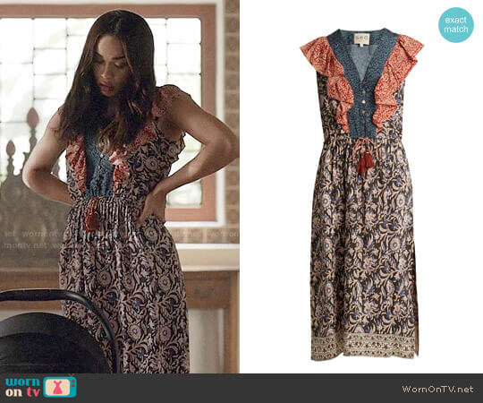 Sea Maho Border floral-print silk dress worn by Erica Dundee (Cleopatra Coleman) on Last Man On Earth