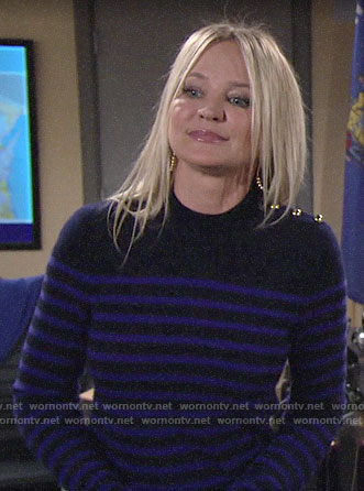 Sharon's blue striped sweater with gold shoulder buttons on The Young and the Restless