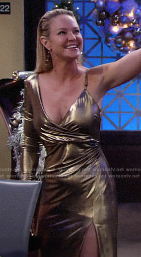 Sharon's gold one-sleeve gown on The Young and the Restless