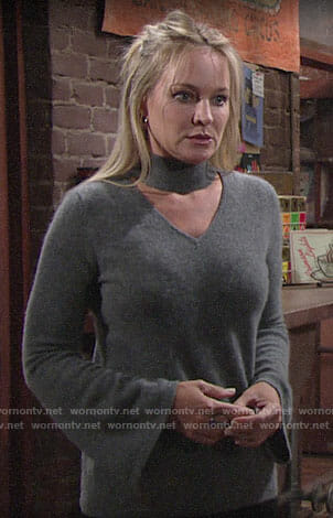 Sharon's grey choker neck sweater on The Young and the Restless