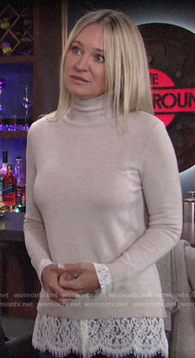 Sharon's beige lace-trim sweater on The Young and the Restless
