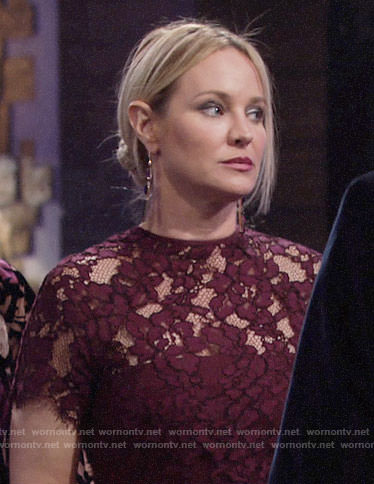 Sharon's burgundy lace dress on The Young and the Restless