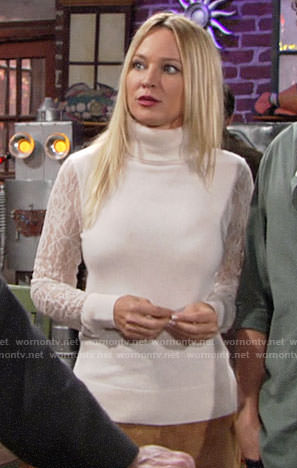 Sharon's lace-sleeve turtleneck sweater and suede skirt on The Young and the Restless