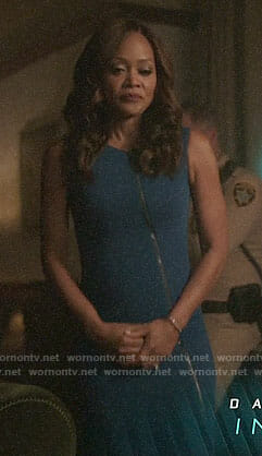 Sierra's blue zip front dress on Riverdale