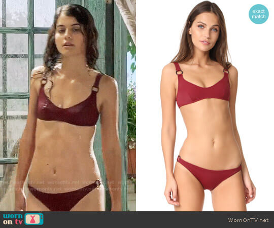 Solid & Striped x Staud Romy Bikini worn by Sabrina Pemberton (Sofia Black D'Elia) on The Mick