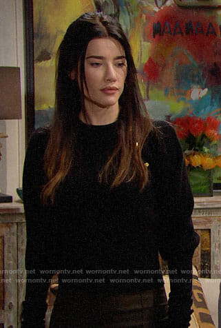 Steffy's black sweater with gold shoulder buttons on The Bold and the Beautiful