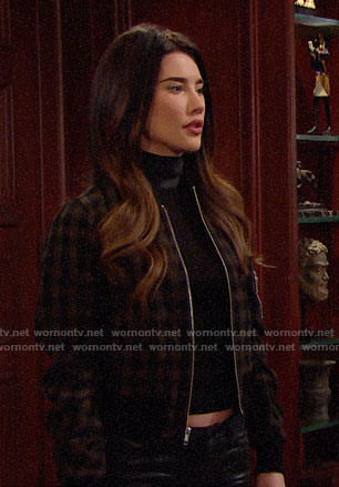 Steffy's black leather neck top and checked bomber jacket on The Bold and the Beautiful