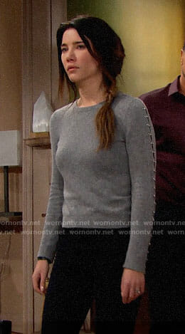 Steffy's grey sweater with ring details on The Bold and the Beautiful