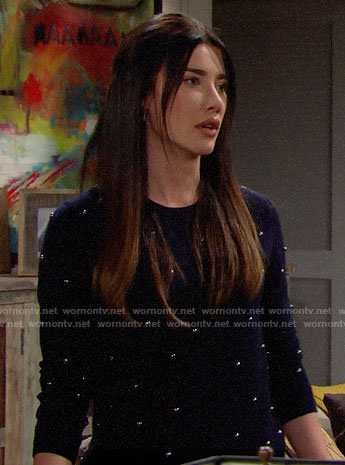 Steffy's navy studded sweater on The Bold and the Beautiful