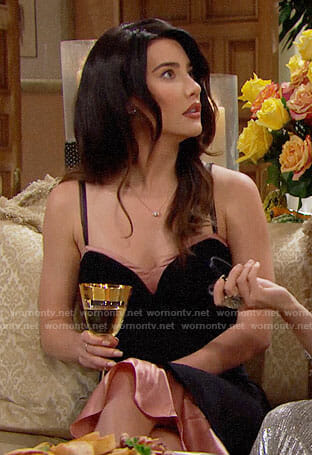 Steffy's black Thanksgiving dress on The Bold and the Beautiful