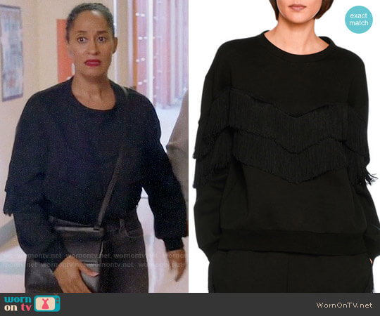 Stella McCartney Tiered V-Fringe Sweatshirt worn by Tracee Ellis Ross on Blackish
