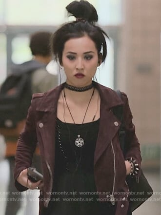 Nico's burgundy moto jacket on Marvel's Runaways