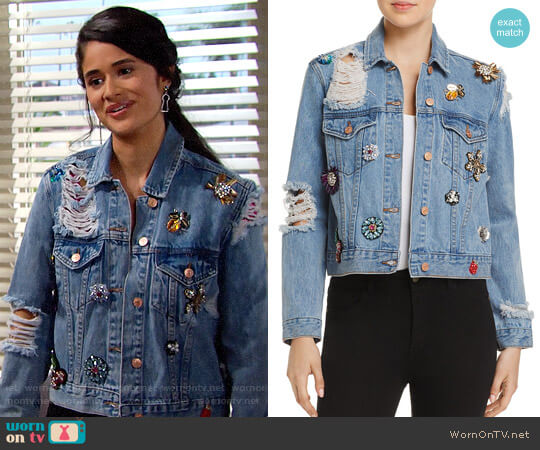 Sunset & Spring Embellished Denim Jacket worn by Danube Hermosillo on The Bold & the Beautiful