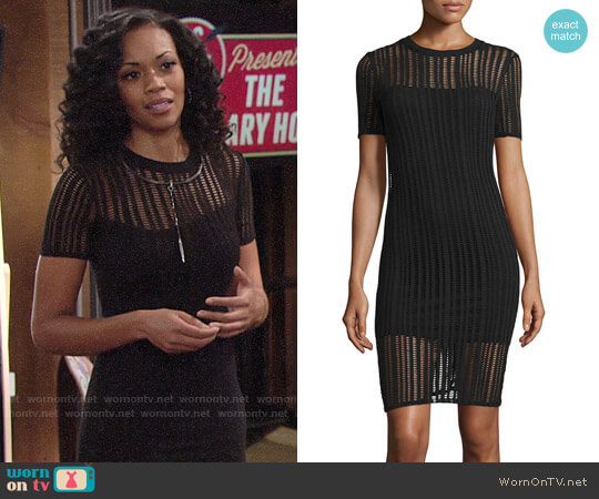 T by Alexander Wang Short-Sleeve Jacquard Sheath Dress worn by Mishael Morgan on The Young & the Restless