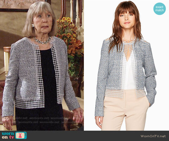 T Tahari Annabeau Jacket worn by Dina Mergeron (Marla Adams) on The Young & the Restless