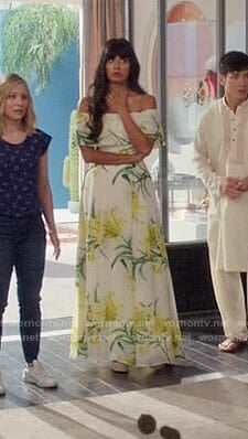 Tahani's yellow and green floral off-shoulder maxi dress on The Good Place