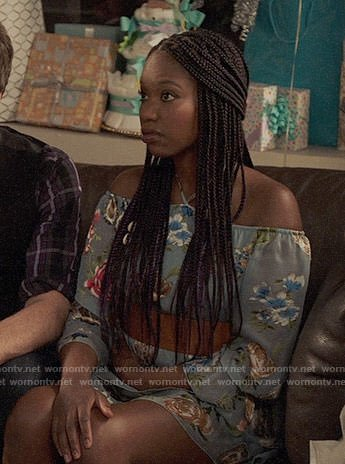 Tamra's blue floral halterneck dress on The Mindy Project
