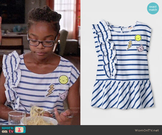 Cat & Jack Girls' Short Sleeve Side Ruffle Woven Top worn by Marsai Martin on Blackish