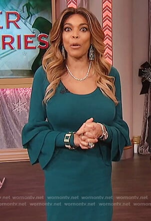 Wendy's green tiered bell sleeve dress on The Wendy Williams Show