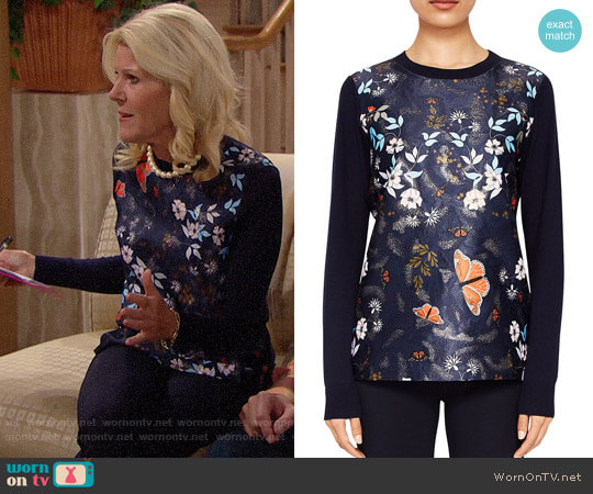 Ted Baker Khlo Kyoto Gardens Jacquard Sweater worn by Pamela Douglas (Alley Mills) on The Bold & the Beautiful
