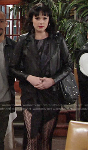 Tessa's black feather print dress on The Young and the Restless
