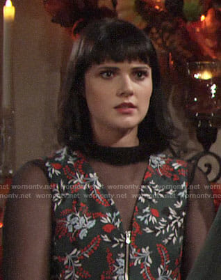Tessa's floral Thanksgiving jumpsuit on The Young and the Restless