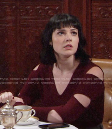 Tessa's red sweater with arm cutouts on The Young and the Restless