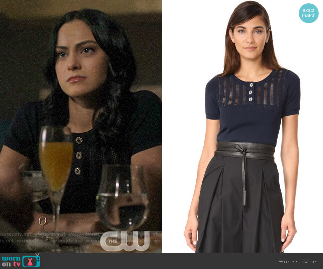 The Kooples Cropped Knit Pullover worn by Veronica Lodge (Camila Mendes) on Riverdale