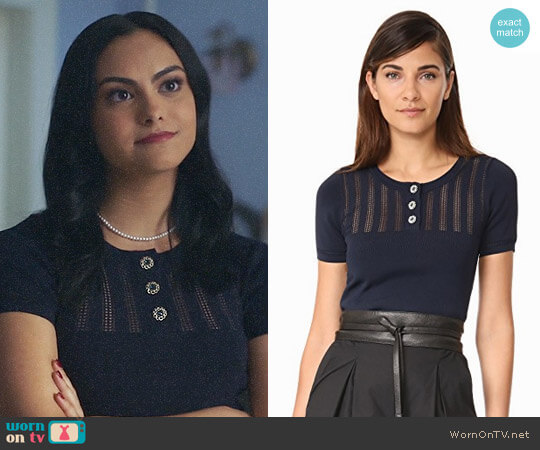 The Kooples Cropped Knit Pullover worn by Camila Mendes on Riverdale