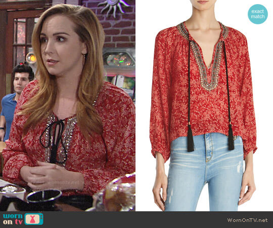 The Kooples Sunrise Embellished Silk Peasant Top worn by Camryn Grimes on The Young & the Restless