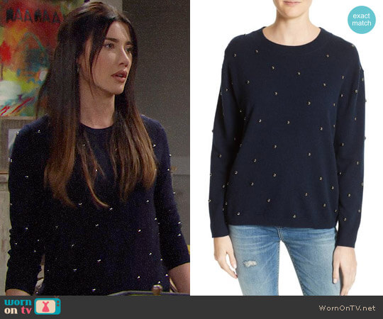 The Kooples Embellished Wool & Cashmere Sweater worn by Steffy Forrester (Jacqueline MacInnes Wood) on The Bold & the Beautiful