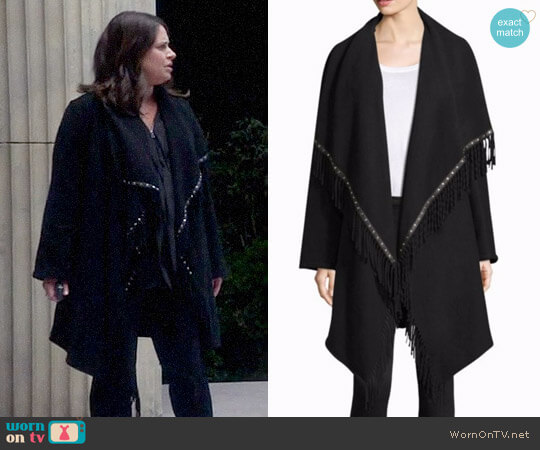 The Kooples Mid-Length Fringe Poncho worn by Katie Lowes on Scandal