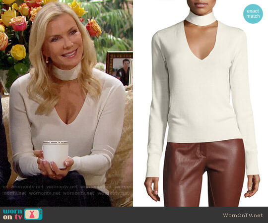 Theory Choker Collar V Front Cashmere-Silk Sweater worn by Katherine Kelly Lang on The Bold & the Beautiful