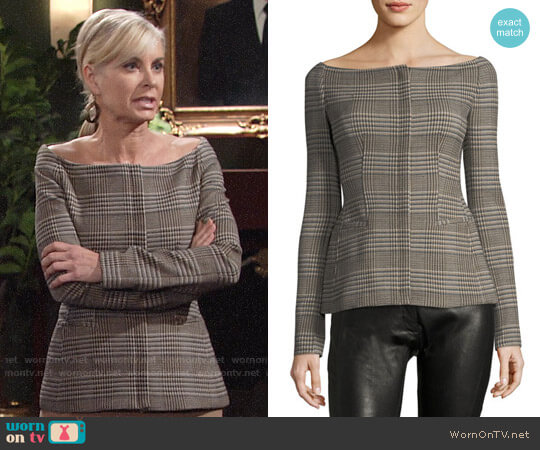 Theory Off-the-Shoulder Wool Plaid Jacket worn by Eileen Davidson on The Young & the Restless