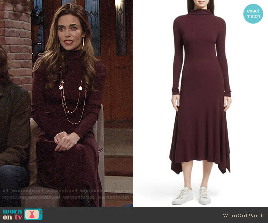 Theory Ribbed Sweater Dress by Dark Currant worn by Victoria Newman (Amelia Heinle) on The Young & the Restless