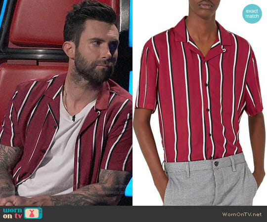 Topman Stripe Revere Shirt worn by Adam Levine  on The Voice