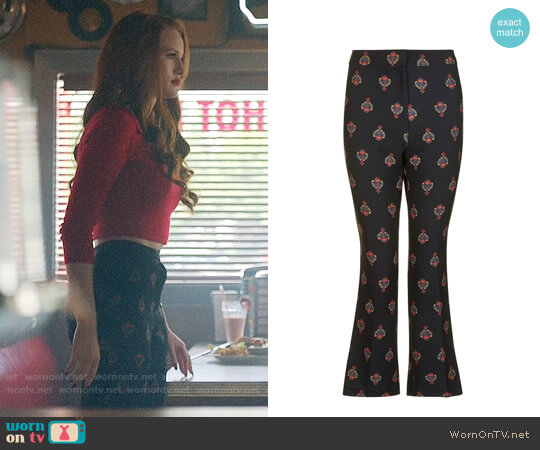 Topshop Tile Print Kick Flare Trousers  worn by Madelaine Petsch on Riverdale