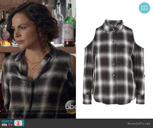 Topshop Check Cold Shoulder Shirt worn by Lana Parrilla on OUAT