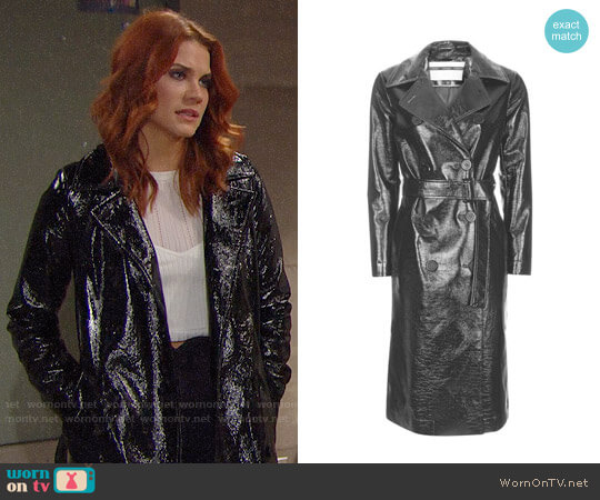 Topshop Vinyl Trench Coat worn by Courtney Hope on The Bold & the Beautiful