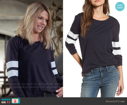 Treasure & Bond Varsity Stripe Cotton Tee worn by Kaitlin Olson on The Mick