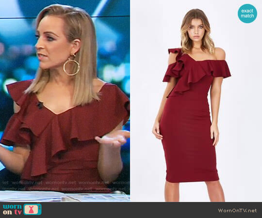 Arusha Frill Cold-Shoulder Dress by Tussah worn by Carrie Bickmore on The Project
