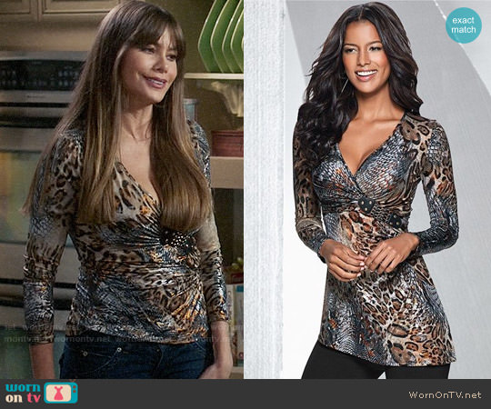 Venus Printed Buckle Detail Top worn by Sofia Vergara on Modern Family