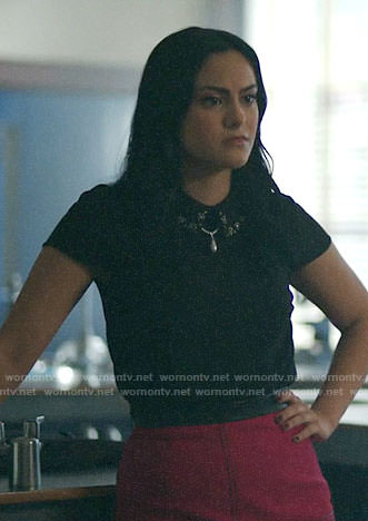 Veronica's black top with embellished collar and pink skirt on Riverdale