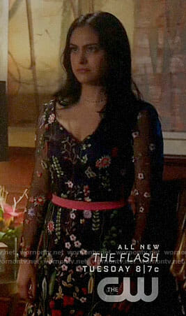 Veronica's floral embroidered dress on Riverdale