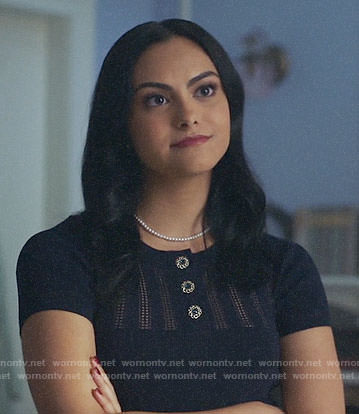 Veronica's navy buttoned top on Riverdale