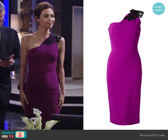 Victoria Beckham One Shoulder Midi Dress worn by Amelia Heinle on The Young & the Restless