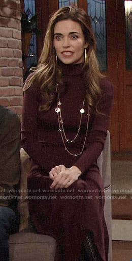 Victoria's burgundy Thanksgiving sweater dress on The Young and the Restless