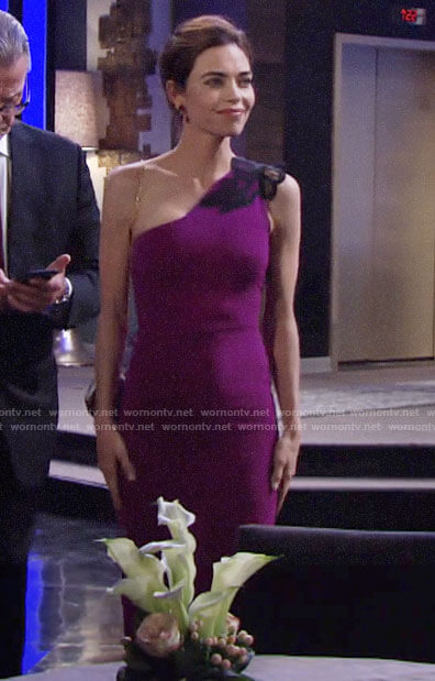Victoria's purple one-shoulder dress on The Young and the Restless